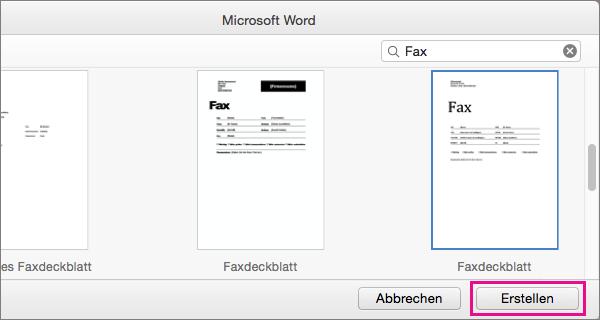 """Um ein Faxdeckblatt zu erstellen, suchen Sie nach """"Fax"""", wählen Sie eine Vorlage aus, und klicken Sie auf """"Erstellen""""."""