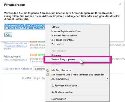 Google Calendar - privaten Link kopieren