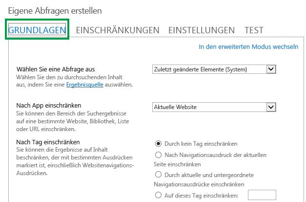 Die Registerkarte 'GRUNDLAGEN' beim Konfigurieren der Abfrage in einem Inhaltssuche-Webpart