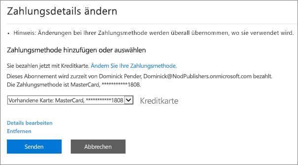 """Screenshot des Bereichs """"Zahlungsdetails ändern"""" für ein Abonnement, das aktuell per Kreditkarte bezahlt wird."""
