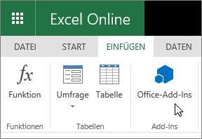 """Screenshot einer Großaufnahme der Gruppe """"Add-Ins"""" auf der Registerkarte """"Einfügen"""" des Menübands, in dem der Cursor auf """"Office-Add-Ins"""" zeigt."""