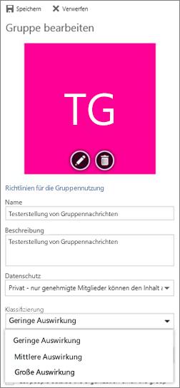 Office 365-Gruppenklassifizierung auswählen