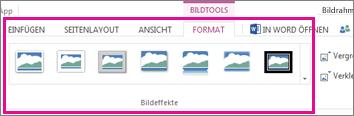 Hinzufügen eines Rahmens durch Auswahl von 'Format' und anschließend 'Bildeffekte'