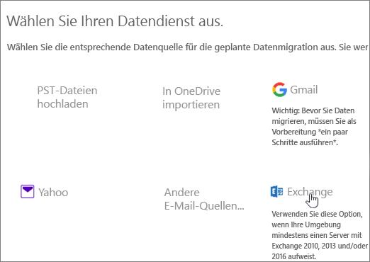 """Wählen Sie auf der Seite """"Migration"""" Exchange als Datendienst aus."""