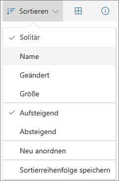 """Screenshot des Menüs """"Sortieren"""" in OneDrive"""