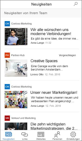 Zusammengefasste Team-Nachrichten – Screenshot