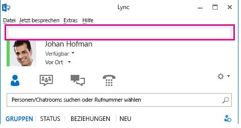 Screenshot vom oberen Teil des Lync-Hauptfenster mit hervorgehobenem persönlichem Notizfeld