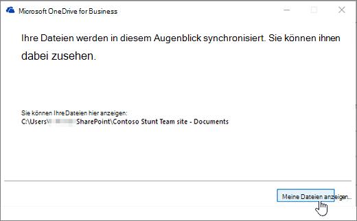 """Synchronisierungsdialogfeld von OneDrive for Business, Schaltfläche """"Meine Dateien anzeigen"""" hervorgehoben"""