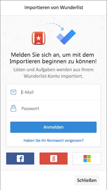 Screenshot der Aufgabe mit dem Anmeldebildschirm, damit Wunderlist im Importprogramm geöffnet wird.