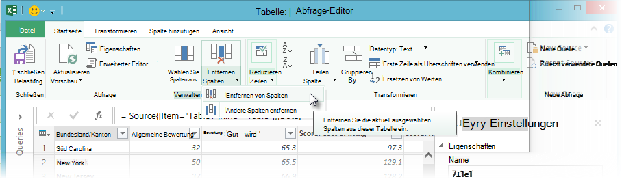 Remove columns using Query Editor