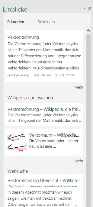 """Bereich """"Einblicke"""" in Excel 2016 für Windows"""