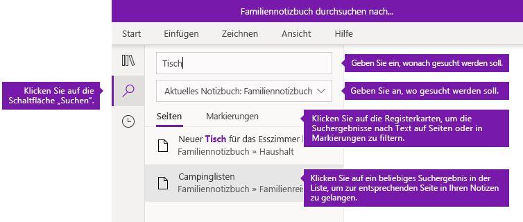 Suchbereichoptionen in OneNote für Windows 10