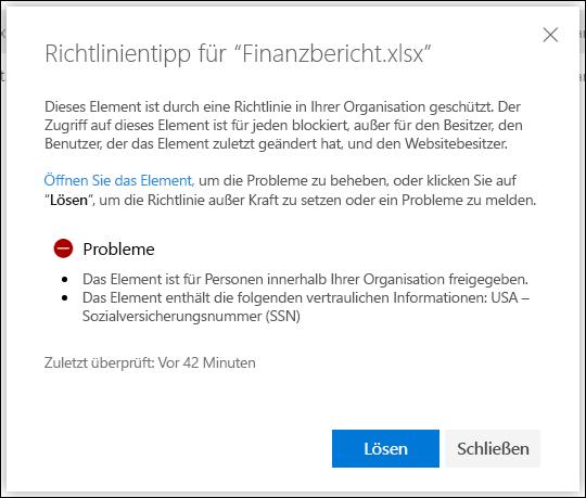 Richtlinientipp für ein Dokument in einem OneDrive-Konto