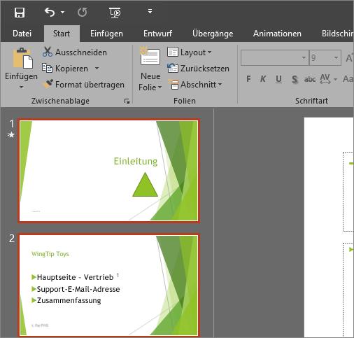 """Abbildung von PowerPoint 2016 mit angewandtem Design """"Dunkelgrau"""""""