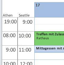 Anzeige mehrerer Zeitzonen im Kalender