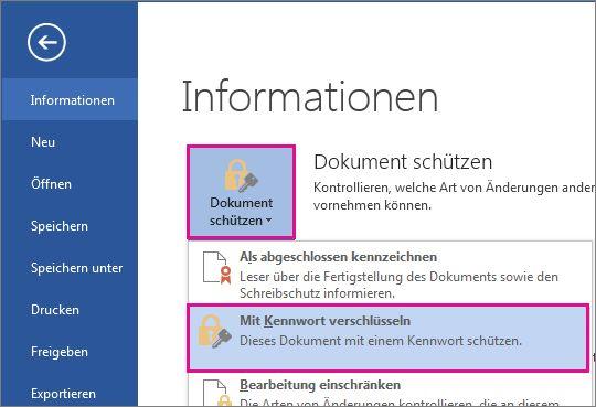 Kennwortschutz für Ihr Dokument