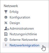 """Screenshot des Menüelements """"Netzwerkmigration"""" für Yammer-Administratoren"""
