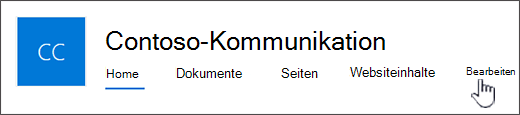 Website-Hauptmenü Kommunikation