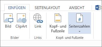 """Abbildung der Option """"Seitenzahlen"""" auf der Registerkarte """"Einfügen"""""""