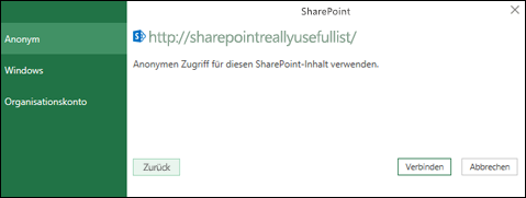 """Excel Power Query-Dialogfeld """"Mit einer SharePoint-Liste verbinden"""""""