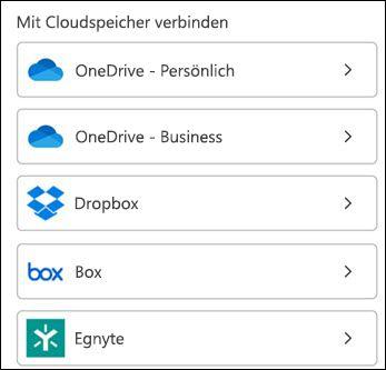 Wählen Sie Ihren Clouddienst aus.