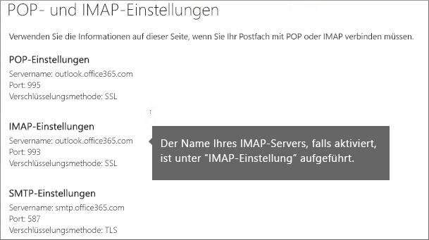 Zeigt den Link für POP- oder IMAP-Zugriffseinstellungen