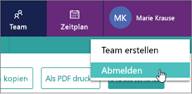 "Option ""Abmelden"" in der Microsoft StaffHub-Web-App"