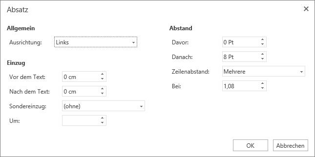 """Screenshot des Dialogfelds """"Absatz"""" mit den Optionen """"Allgemein"""", """"Einzug"""" und """"Abstand"""""""