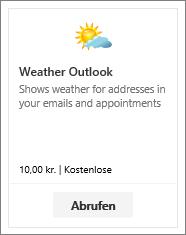 """Screenshot des Outlook-Add-Ins """"Wetter"""", das als kostenlose Testversion oder kostenpflichtig verfügbar ist."""