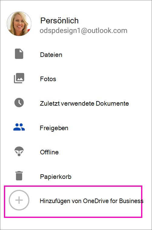 Hinzufügen von OneDrive for Business.