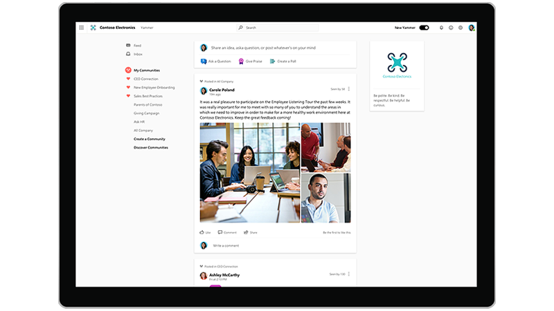 Yammer Homepage
