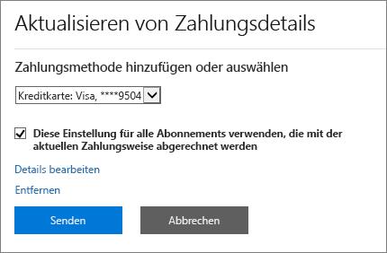"""Bereich """"Zahlungsdetails aktualisieren"""", wenn ein Abonnement per Kreditkarte oder Bankkonto bezahlt wird"""