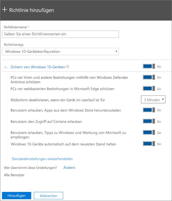 """Bereich """"Richtlinie hinzufügen"""" mit ausgewähltem """"Windows 10-Gerätekonfiguration"""""""