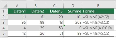 Excel zeigt einen Fehler an, wenn eine Formel nicht den Mustern der angrenzenden Formeln entspricht.