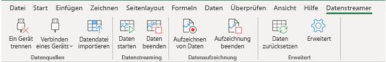 """Datenstreamer-Menüband, mit aktivierten Optionen """"Getrennt """" und """"Gerät verbinden"""""""