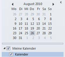 Datumsnavigator im Navigationsbereich des Kalenders