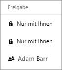 """Screenshot der Spalte """"Freigabe"""" in OneDrive for Business, in der freigegebene und nicht freigegebene Elemente gezeigt werden"""