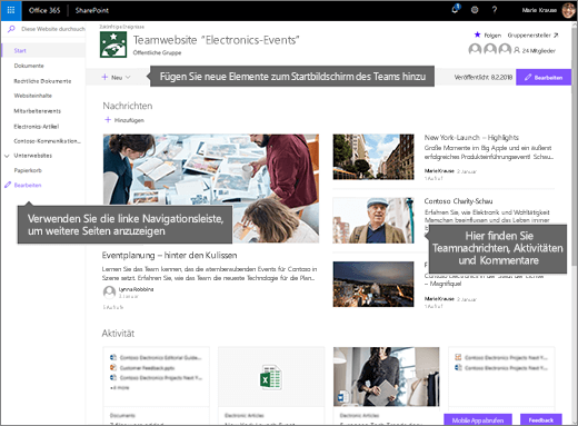SharePoint Online-Teamwebsite Homepage