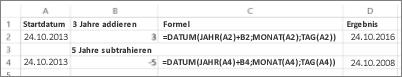Beispiel für Addieren und Subtrahieren von Datumswerten