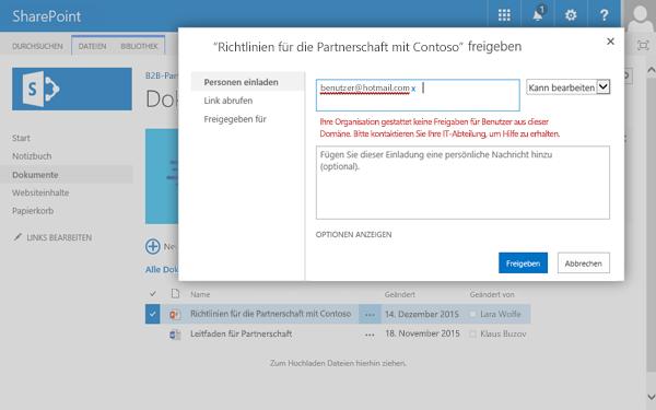 Wenn ein Benutzer versucht, ein Dokument für eine E-Mail-Adresse freizugeben, die eingeschränkt ist, wird dieser Fehler angezeigt.