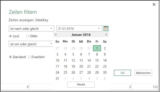 """Excel Power BI, Datumsauswahlunterstützung für einzugebende Datumswerte in den Dialogfeldern """"Zeilen filtern"""" und """"Bedingte Spalte"""":"""