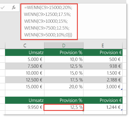 Die Formel in Zelle D9 lautet WENN(C9>15000;20%;WENN(C9>12500;17,5%;WENN(C9>10000;15%;WENN(C9>7500;12,5%;WENN(C9>5000;10%;0)))))