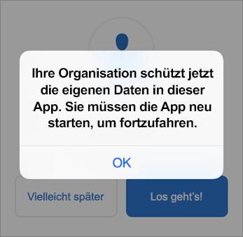 Screenshot, der zeigt, dass Ihre Organisation jetzt Ihre Outlook-App schützt