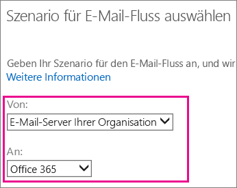 Auswählen von Office 365 als E-Mail-Server für Ihr Unternehmen