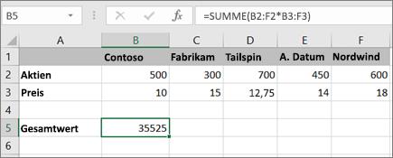 Ein Beispiel für eine Matrixformel, die ein einzelnes Ergebnis berechnet
