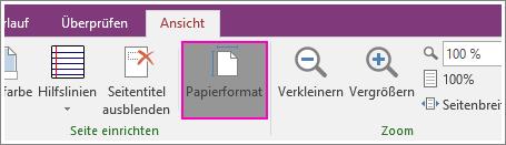 """Screenshot der Schaltfläche """"Papierformat"""" in OneNote 2016"""