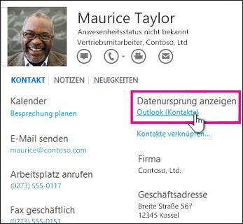 Outlook-Link 'Datenursprung anzeigen' auf einer Visitenkarte
