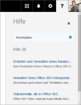 """Screenshot des Office 365 Video-Bereichs """"Hilfe"""" mit Suchergebnissen für """"Upload"""""""