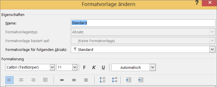 """Word-Befehl """"Format für Formatvorlage ändern"""""""