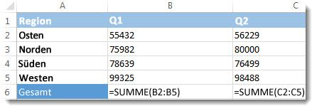 Formeln, die auf einem Excel-Arbeitsblatt sichtbar sind